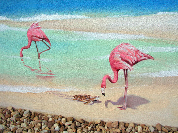 Flamingo on Textured Wall