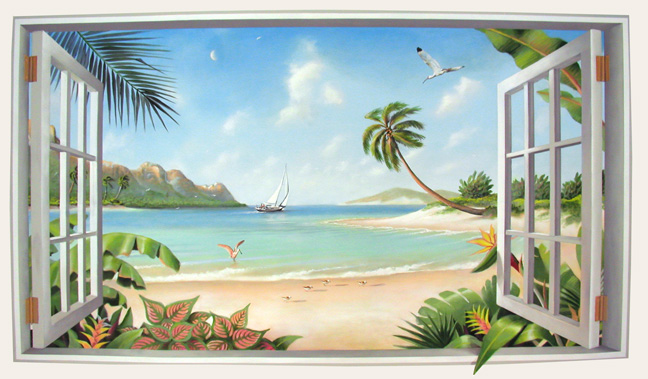 Tropical murals glenn adkins west palm beach florida for Beach mural painting